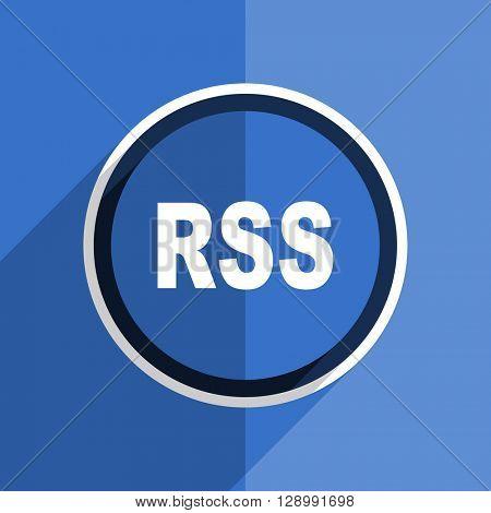 flat design blue rss web modern icon