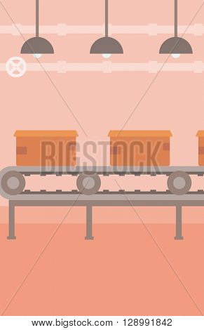 Background of conveyor belt with cardboard boxes.