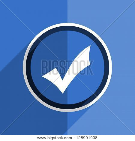 flat design blue accept web modern icon