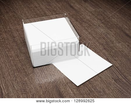 Blank notes with glass holder on wooden table. 3D illustration.