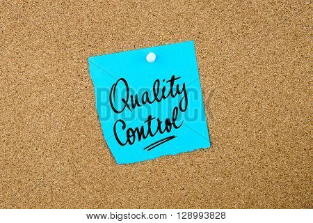 Quality Control Written On Blue Paper Note