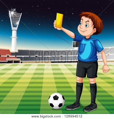 Referee showing yellow ticket in football field illustration