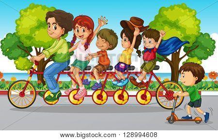 Family riding bike in the park illustration