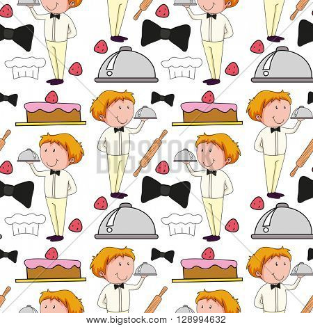 Seamless background  with waiter serving food illustration