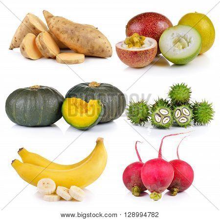 Small radish banana Castor oil Pumpkin Passion fruit Sweet potato on white background
