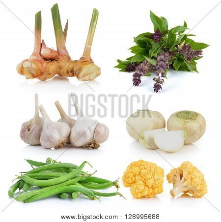 Green beans Sweet Basil Mini white turnips garlic yellow cauliflower galangal on white background