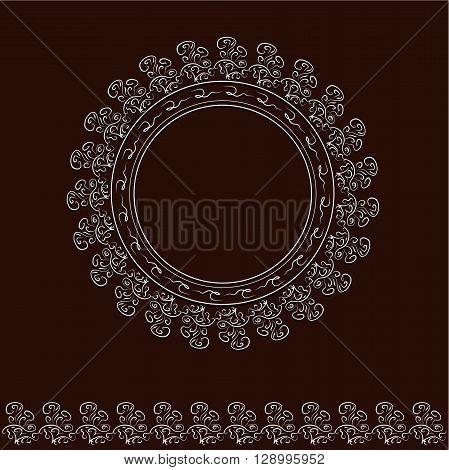 White round frame and brush on brown background retro strange decoration vector