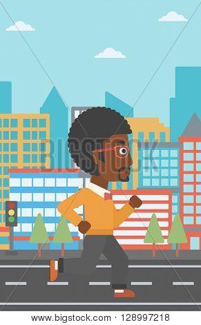 Sportive man jogging.