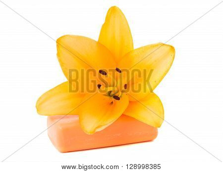 Soap on white background health, cleanse, lily, relaxation