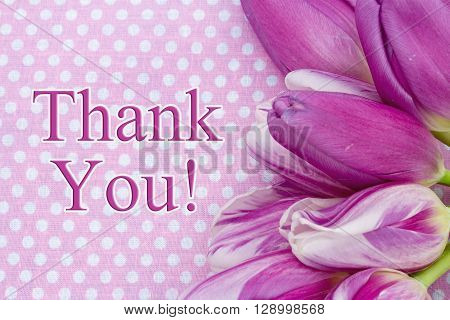 Thank You Message Some tulips with pink polka dots and text Thank You