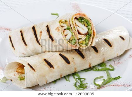 Tortilla Wrap Cut in Half