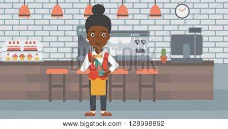 Waitress holding bottle of wine.