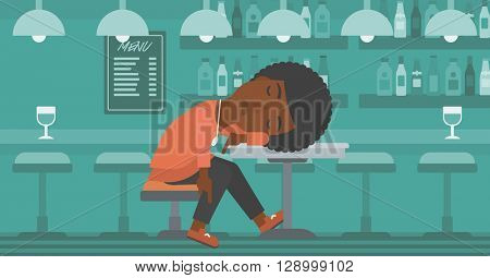Woman sleeping in bar.