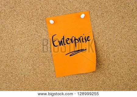 Enterprise Written On Paper Note