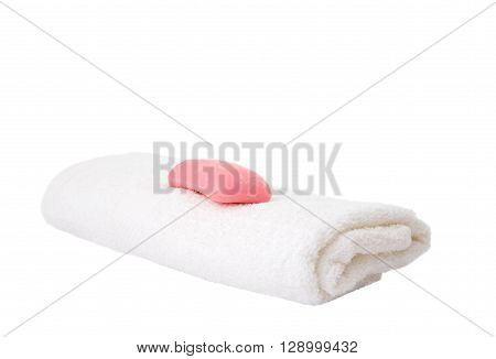 soap and towels on white background dry, fabric