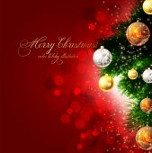 pic of christmas bells  - christmas background with baubles and christmas tree - JPG