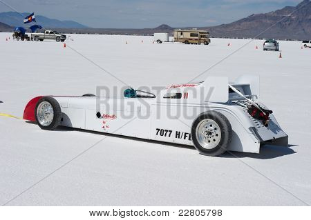 WENDOVER, UT - AUGUST 13: A 1934 Chevy Legends Car on the Bonneville Salt Flats during Bonneville Speed Week on August 13, 2011 near Wendover, UT.