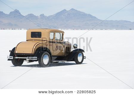 WENDOVER, UT - AUGUST 13: A 1931 Ford Model A on the Bonneville Salt Flats during Bonneville Speed Week on August 13, 2011 near Wendover, UT.
