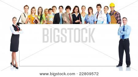 Group of smiling business people with placard. Over white background.