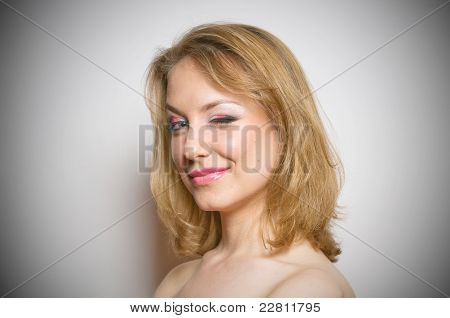 Blond girl with make-up portrait