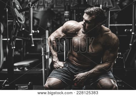 poster of Handsome Model Young Man Training Back In Gym
