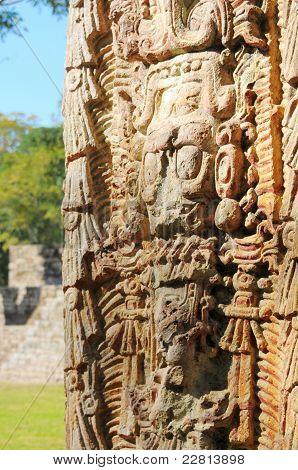 Sculptures In Archeological Park In Copan Ruinas