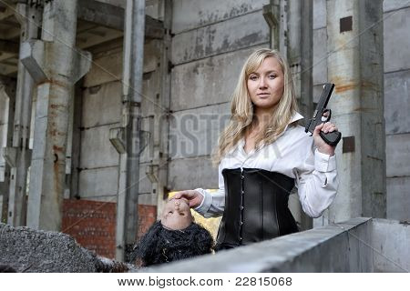 Woman Bounty Hunter With Pistol In Her Hands