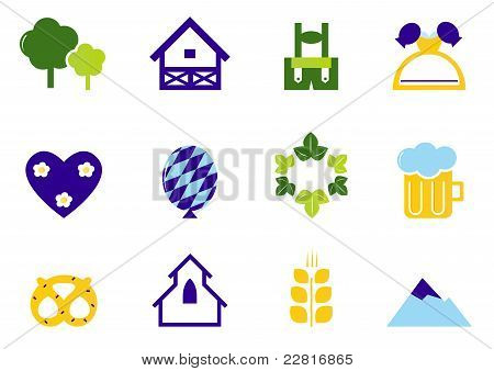 Germany & Octoberfest Icons And Symbols Isolated On White.