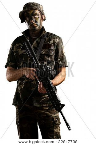 young soldier with jungle camouflage on a white background