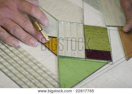 Craftsman Creating Victorian Stained Glass Panels