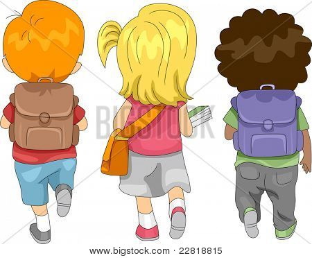 Illustration of Kids Going to School