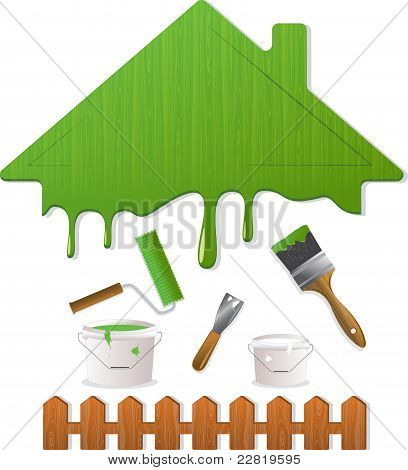 Green roof and painting tools