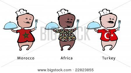Chef of restaurant from Morocco Africa Turkey - vector illustration