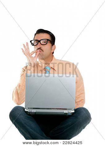 nerd man sit with laptop computer doing ok positive gesture
