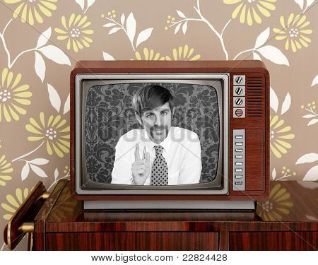 tv presenter mustache man in wooden retro television brown wallpaper [Photo Illustration]
