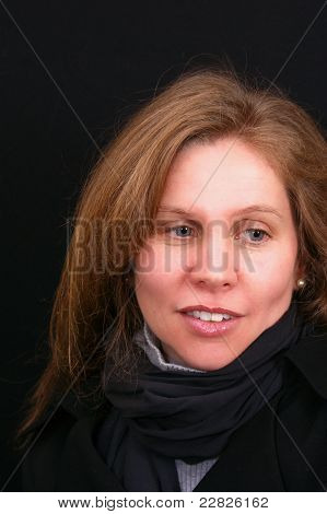 Beautiful Brown Haired Woman Looking Aside
