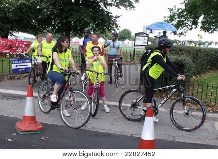 LONDON - AUG 21: Mayor of London, Boris Johnson's cycle event, SKYRIDE, visits Barking for the first time. The family event gives cyclists a traffic free route on the roads of London, Aug 21, 2011. Unidentified participants