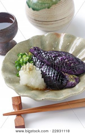 Simmered japanese eggplants