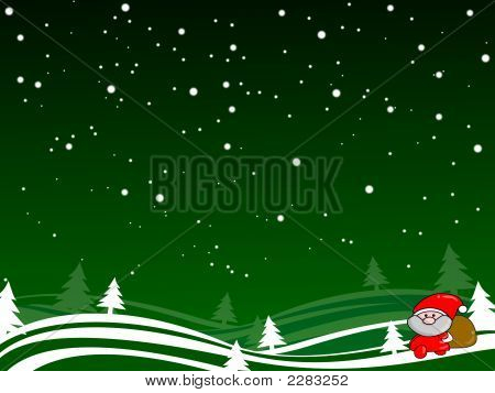 Green Shristmas Background With Snow Santa