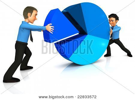 3D Business man assembling a pie chart - isolated over a white background
