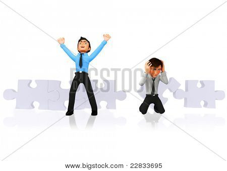 3D Business winner and looser assembling a puzzle - isolated over white