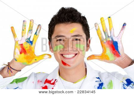 Male painter with hands dirty and smiling ? isolated over white