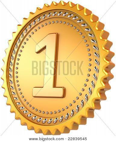 Golden medal first place award design