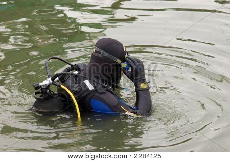 Scuba Diver Entering The Water