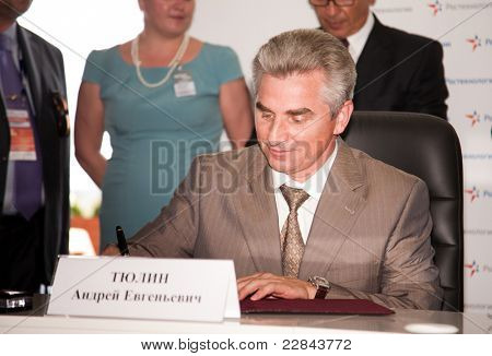 MOSCOW, RUSSIA, AUGUST,16: Signing of contracts. General manager JSC Concern