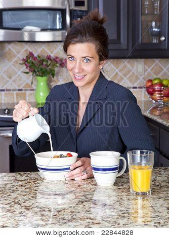Businesswoman Having Breakfast