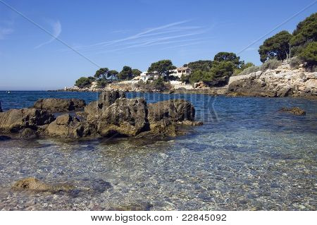 Beach And Rocks On The French Riviera