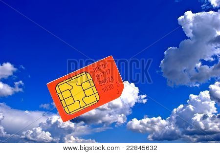 Sim Card On Background Sky.