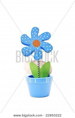 Blue Flower Pot Note Holder Decor
