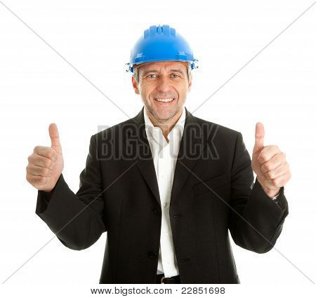 Happy architect celebrating success